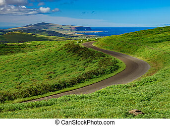 Road in Rano Kau volcano crater, Rapa Nui - Landscape with...