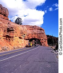 Road in Red Canyon, USA. - Large American truck driving ...