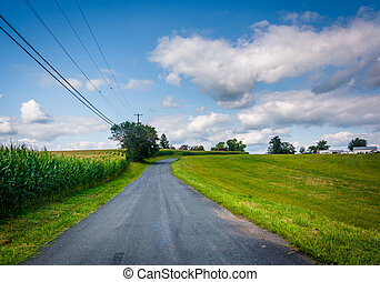 Road in rural Baltimore County, Maryland.