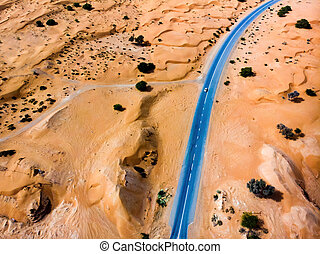 Road in the desert aerial view