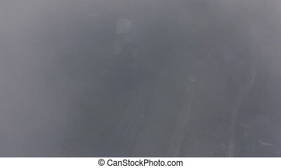 Road in the Fog on Bali Island drone shot 4K
