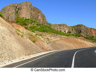 Road in the mountains close up. Africa, Ethiopia.