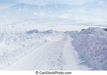 Road in the snow in the foothills