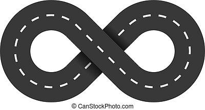 Road infinity on a white background. The road from the eight is isolated. The carriageway