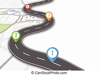 road infographic - Road infographic with colorful pin...