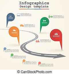 Road infographic timeline element layout. Vector...