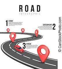 Road infographic vector template with red isometric car