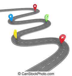 Road infographic with pin pointer. Navigation concept with...