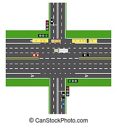 Road infographics. Large highway intersection with the road. With the cars and traffic lights. loaded maps of roads and public transport. Top view of the highway. illustration