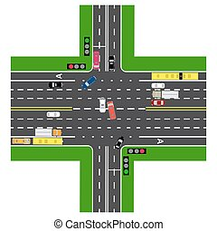 Road infographics. Most of the highway intersection with the road. With the cars and traffic lights. Green signal for the non-principal roads. The loaded road maps and public transport. Top view of the highway.