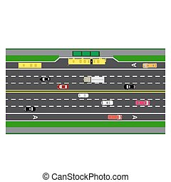 Road infographics. Plot road, highway, street with the bus stop. With different cars. loaded maps of roads and public transport. Top view of the highway. illustration: