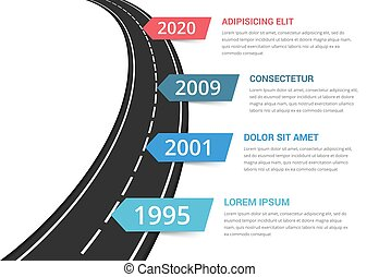 Road infographics template with four elements with place for your text, vector eps10 illustration
