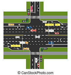 Road infographics. The highway intersects with the road. With the cars and traffic lights. Green signal to the main road. Loaded with road maps and public transport. Top view of the highway. illustration