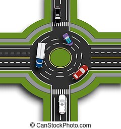Road infographics. Top view 3d perspective. Road interchange, roundabouts. This shows the movement of cars. Sidewalks and crossings. illustration