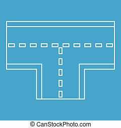 Road intersection icon, outline style