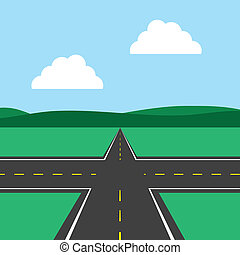 Road Intersection  - Road intersection with sky background