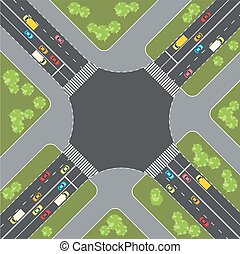 Road intersection with cars. Top view. Vector illustration