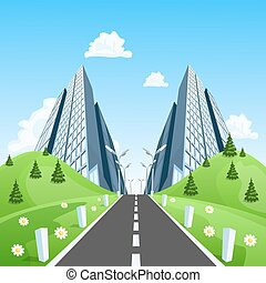 Road into the city through the landscape. Vector