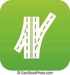 Road junction icon green vector