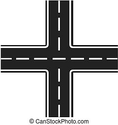 road junction, Illustration crossroads, highway...