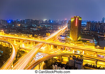 road junction of urban expressway at night in hangzhou ,...
