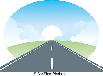 Road landscape. vector nature illustration