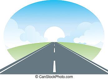 Road landscape. vector nature illustration