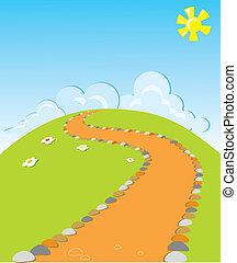 Road landscape.vector nature illustration