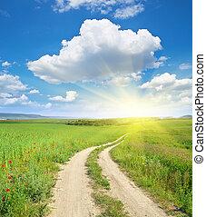 Road lane and deep blue sky.