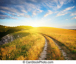 Road lane in mountain and deep blue sky. Nature composition.
