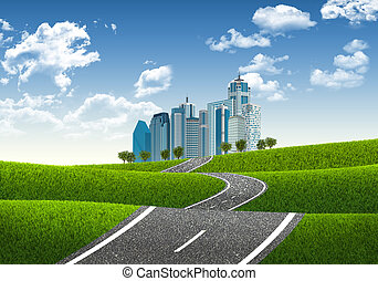Road leading to business center. Concept of architecture