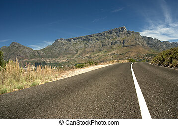 Road leading toward Table mountain