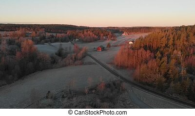 Road Leading up to Red Farm Barn, Forest Landscape, Early Morning, Aerial. High quality 4k footage