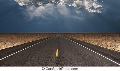 Road leads into desert