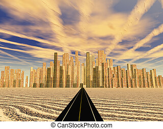 Road leads to gleaming desert city