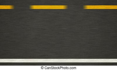 road., ligne jaune, nouveau, asphalte