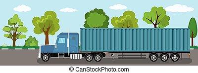 road., long, camion, caravane, véhicule cargaison, récipient