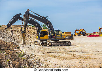 machinery on the construction of roads - Road machinery on ...
