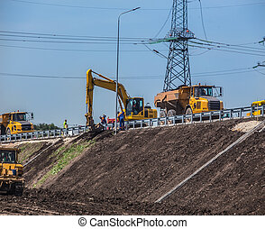 machinery on the construction of roads