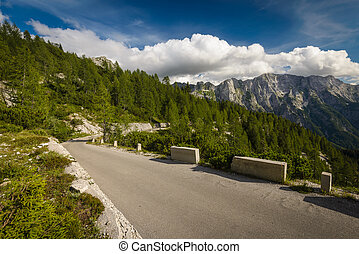 Road - Mangart road-highest road in Slovenia.Julian Alps.