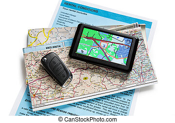 Road map and navigator on white