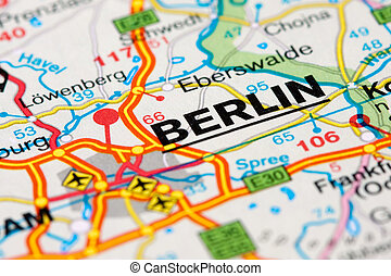 Road map around Berlin - Close up of a road map near Berlin,...