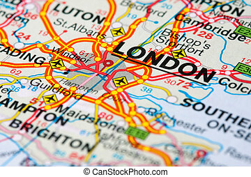 Road map around London - Close up of a road map near London,...