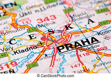 Road map around Prague
