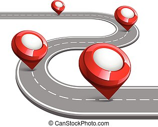 Road map for business infographic. - Road map with map...