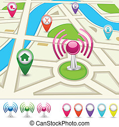 easy to edit vector illustration of road map for GPS application