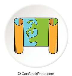Road map icon, cartoon style