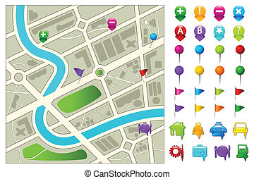 Road Map - illustration of road map with gps icon set on ...