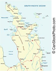 Road map of New Zealand coromandel peninsula