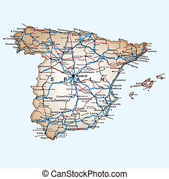 Catalonia autonomous community in the map of spain vector clip art